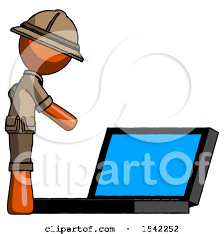 Orange Explorer Ranger Man Using Large Laptop Computer Side Orthographic View by Leo Blanchette