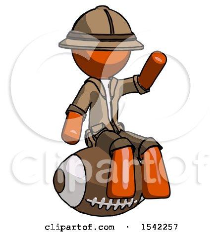 Orange Explorer Ranger Man Sitting on Giant Football by Leo Blanchette