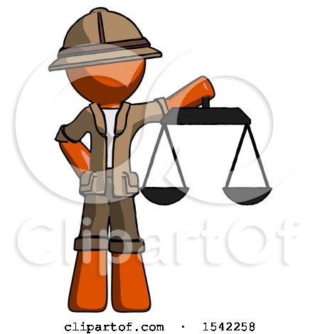 Orange Explorer Ranger Man Holding Scales of Justice by Leo Blanchette