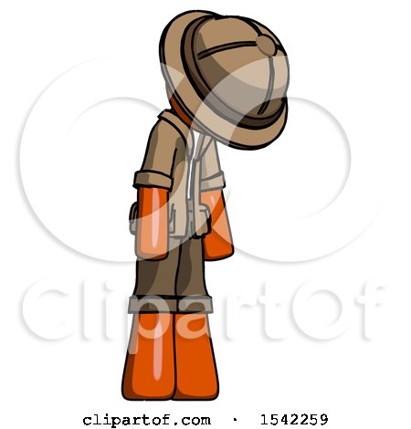 Orange Explorer Ranger Man Depressed with Head down Turned Right by Leo Blanchette