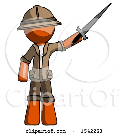 Orange Explorer Ranger Man Holding Sword in the Air Victoriously by Leo Blanchette