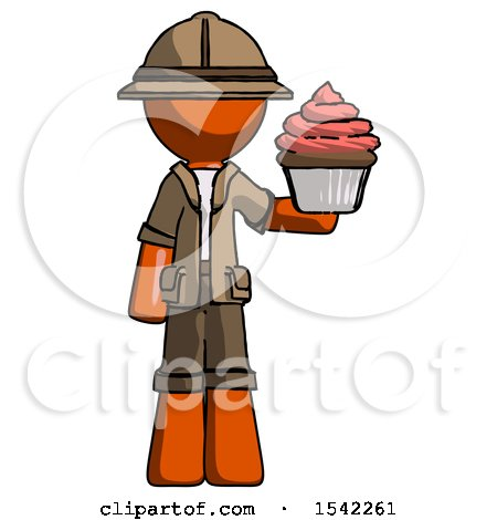 Orange Explorer Ranger Man Presenting Pink Cupcake to Viewer by Leo Blanchette