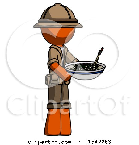 Orange Explorer Ranger Man Holding Noodles Offering to Viewer by Leo Blanchette