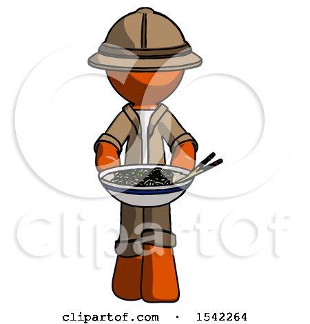 Orange Explorer Ranger Man Serving or Presenting Noodles by Leo Blanchette