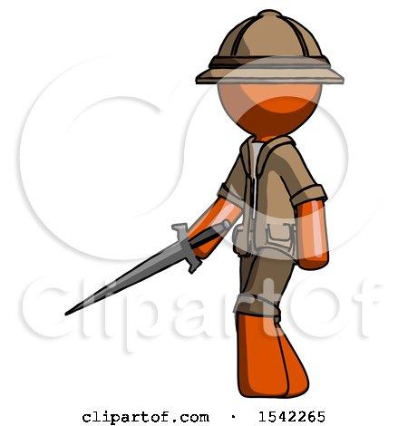 Orange Explorer Ranger Man with Sword Walking Confidently by Leo Blanchette