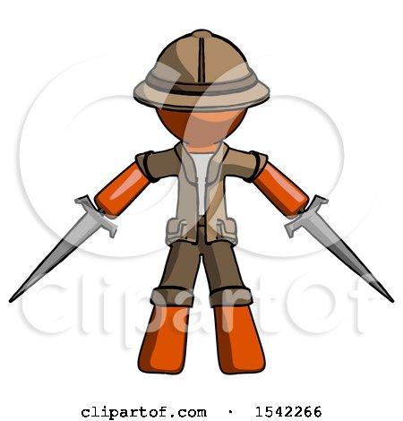 Orange Explorer Ranger Man Two Sword Defense Pose by Leo Blanchette