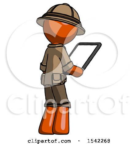Orange Explorer Ranger Man Looking at Tablet Device Computer Facing Away by Leo Blanchette