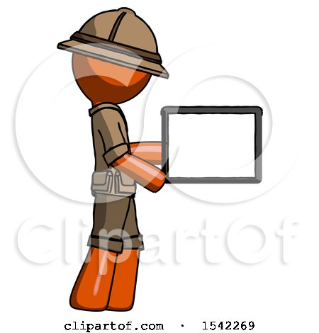 Orange Explorer Ranger Man Show Tablet Device Computer to Viewer, Blank Area by Leo Blanchette