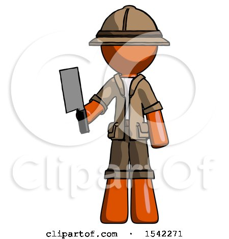 Orange Explorer Ranger Man Holding Meat Cleaver by Leo Blanchette
