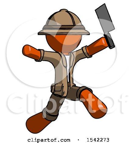 Orange Explorer Ranger Man Psycho Running with Meat Cleaver by Leo Blanchette