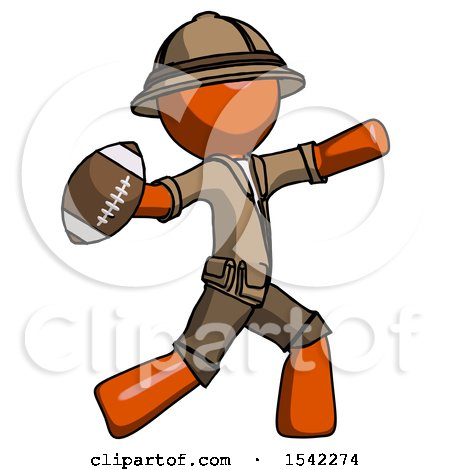 Orange Explorer Ranger Man Throwing Football by Leo Blanchette