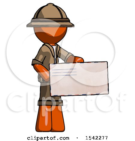 Orange Explorer Ranger Man Presenting Large Envelope by Leo Blanchette