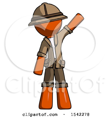 Orange Explorer Ranger Man Waving Emphatically with Left Arm by Leo Blanchette