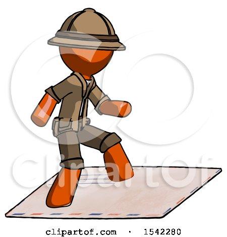 Orange Explorer Ranger Man on Postage Envelope Surfing by Leo Blanchette