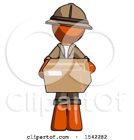 Orange Explorer Ranger Man Holding Box Sent or Arriving in Mail by Leo Blanchette