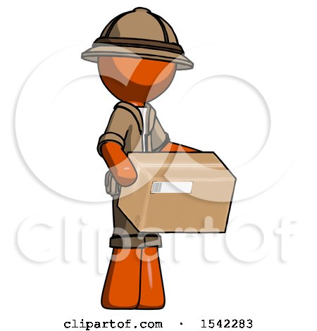 Orange Explorer Ranger Man Holding Package to Send or Recieve in Mail by Leo Blanchette