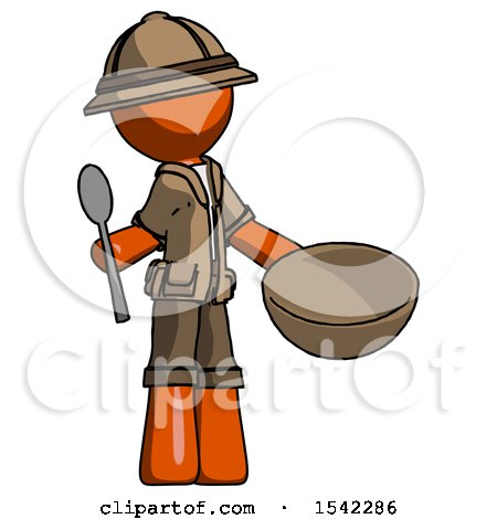 Orange Explorer Ranger Man with Empty Bowl and Spoon Ready to Make Something by Leo Blanchette