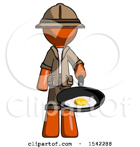 Orange Explorer Ranger Man Frying Egg in Pan or Wok by Leo Blanchette