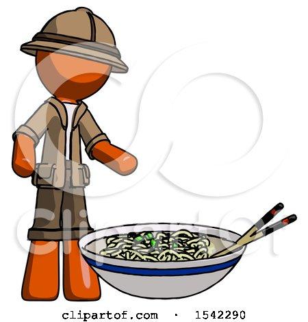 Orange Explorer Ranger Man and Noodle Bowl, Giant Soup Restaraunt Concept by Leo Blanchette