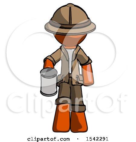 Orange Explorer Ranger Man Begger Holding Can Begging or Asking for Charity by Leo Blanchette