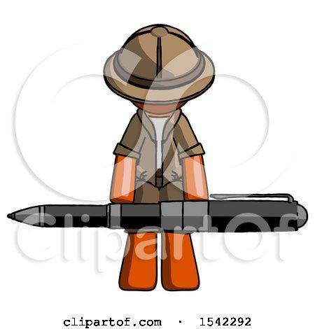 Orange Explorer Ranger Man Weightlifting a Giant Pen by Leo Blanchette