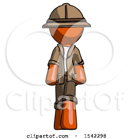 Orange Explorer Ranger Man Walking Front View by Leo Blanchette