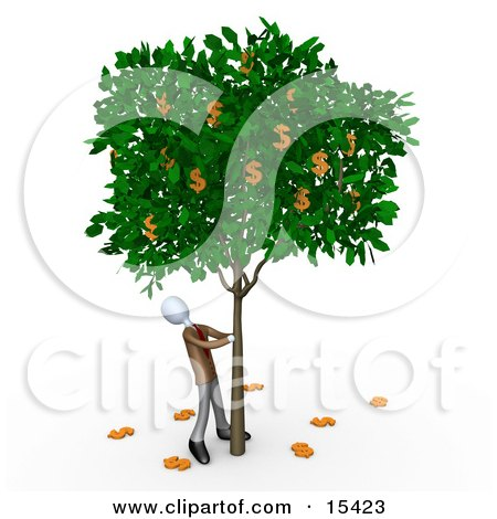 Greedy Businessman Shaking Money Off Of A Tree That Grows Dollars  Posters, Art Prints