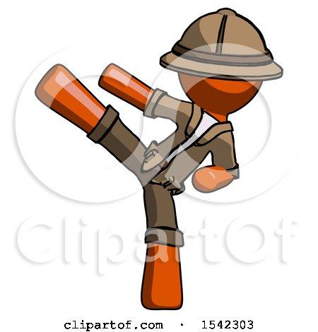 Orange Explorer Ranger Man Ninja Kick Left by Leo Blanchette
