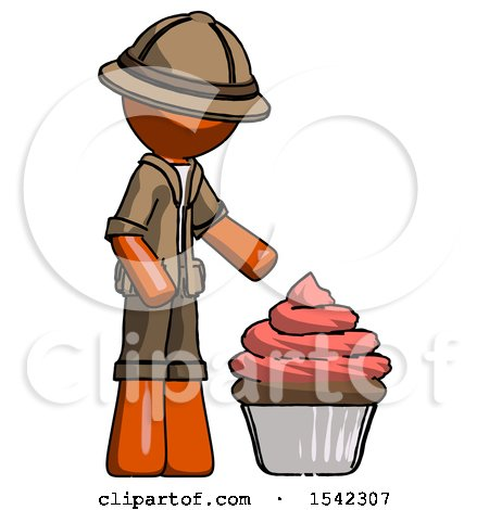 Orange Explorer Ranger Man with Giant Cupcake Dessert by Leo Blanchette