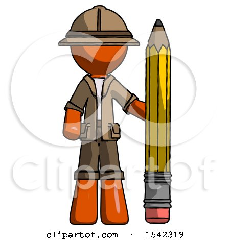 Orange Explorer Ranger Man with Large Pencil Standing Ready to Write by Leo Blanchette