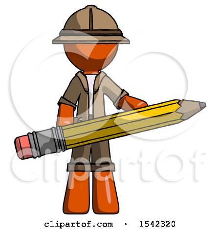 Orange Explorer Ranger Man Writer or Blogger Holding Large Pencil by Leo Blanchette
