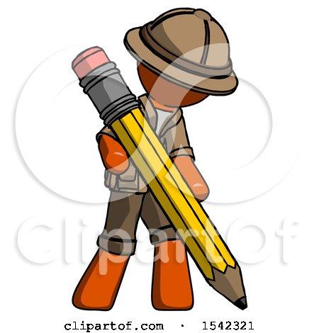 Orange Explorer Ranger Man Writing with Large Pencil by Leo Blanchette