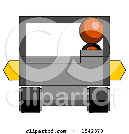Orange Design Mascot Man Driving Amphibious Tracked Vehicle Front View by Leo Blanchette