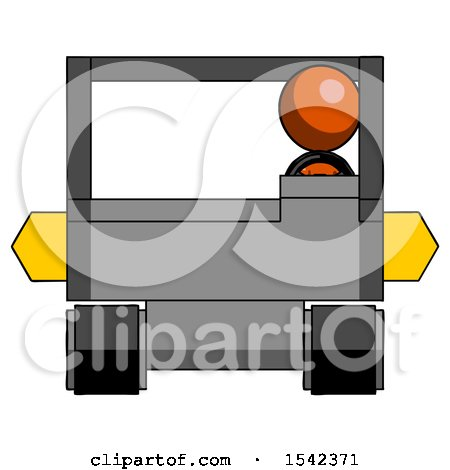 Orange Design Mascot Woman Driving Amphibious Tracked Vehicle Front View by Leo Blanchette