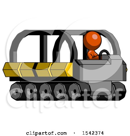 Orange Design Mascot Man Driving Amphibious Tracked Vehicle Side Angle View by Leo Blanchette