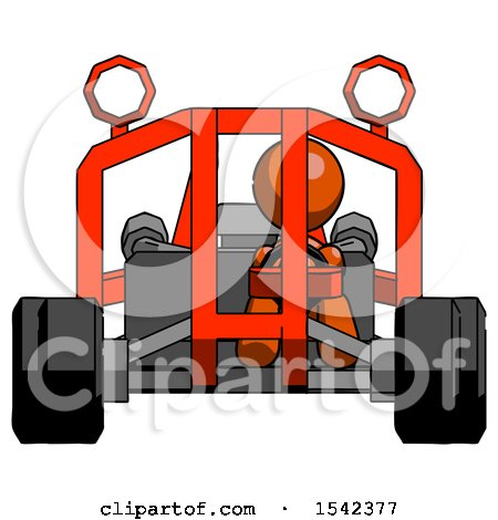 Orange Design Mascot Woman Riding Sports Buggy Front View by Leo Blanchette