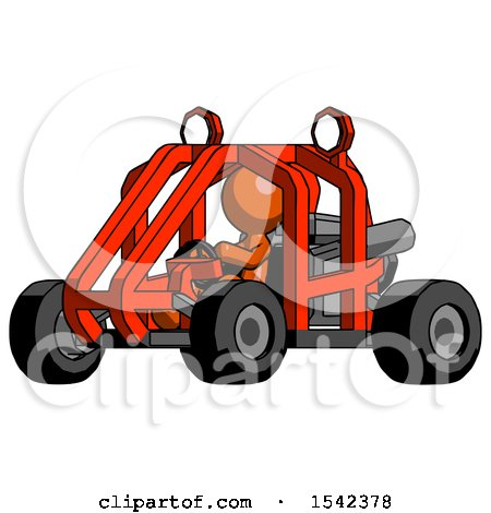 Orange Design Mascot Man Riding Sports Buggy Side Angle View by Leo Blanchette
