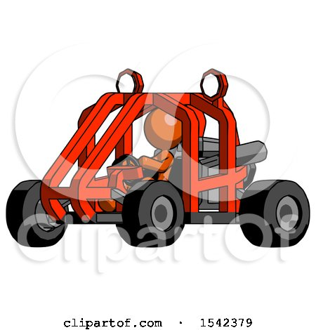Orange Design Mascot Woman Riding Sports Buggy Side Angle View by Leo Blanchette