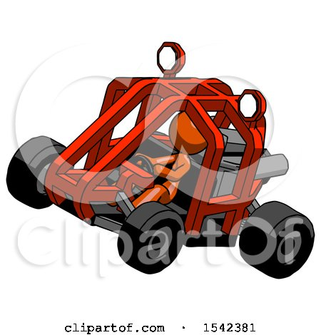 Orange Design Mascot Woman Riding Sports Buggy Side Top Angle View by Leo Blanchette