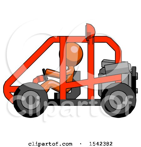 Orange Design Mascot Man Riding Sports Buggy Side View by Leo Blanchette