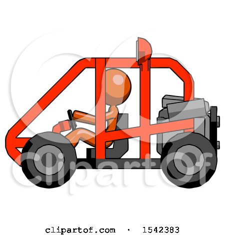 Orange Design Mascot Woman Riding Sports Buggy Side View by Leo Blanchette