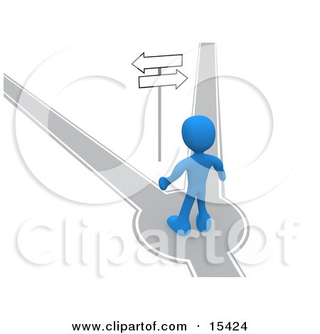 Blue Person Standing On A Path That Forks Off Into Two Different Directions, Trying To Decide Which Way To Go While Facing Arrow Signs Clipart Illustration Image by 3poD