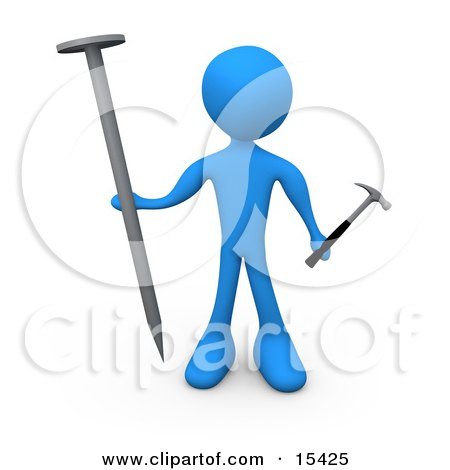 Blue Person Holding A Large Nail And A Tiny Hammer, Stuck Dealing With Trying To Accomplish A Complicated Task Clipart Illustration Image by 3poD