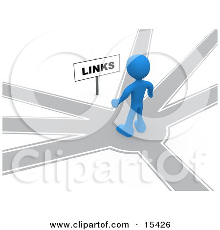 Blue Person Standing On A Path That Forks Off Into Different Directions, Trying To Decide Which Way To Go While Facing A Links Sign Clipart Illustration Image by 3poD
