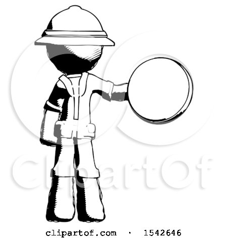 Ink Explorer Ranger Man Holding a Large Compass by Leo Blanchette