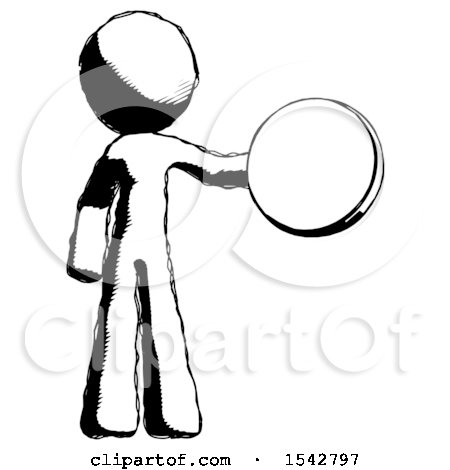 Ink Design Mascot Man Holding a Large Compass by Leo Blanchette
