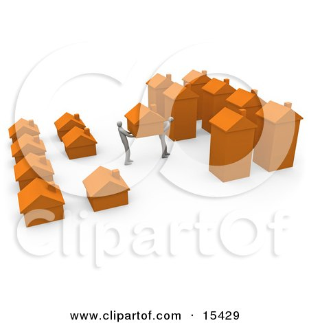 Two People Moving Their Home From A Small Neighborhood Into A Big City, Symbolizing Relocation And Promotions Clipart Illustration Image by 3poD