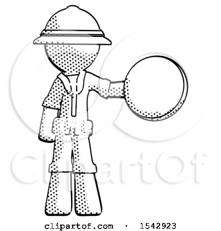 Halftone Explorer Ranger Man Holding a Large Compass by Leo Blanchette