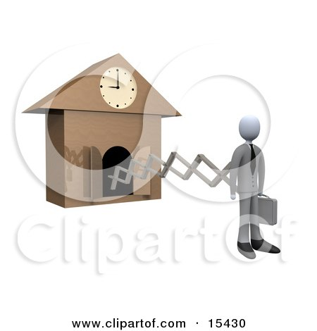 Punctual White Businesman In A Suit, Holding A Briefcase And Sticking Out From An Arm Of A Cuckoo Clock Upon The Hour Of 9am, Symbolising The Start Of A New Work Day  Posters, Art Prints