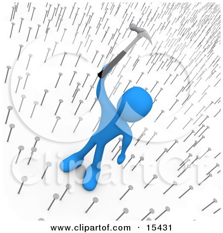 Egotistical And Mean Blue Boss Holding A Hammer Up Above Nails That Symbolize Innocent Employees Clipart Illustration Image by 3poD